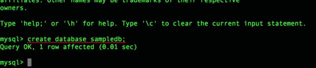 create database sampledb;
