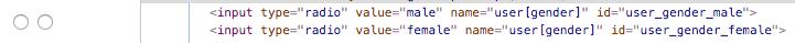 Railsでラベルを設定する前のラジオボタンの画像