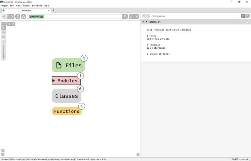 Sourcetrailのスタート画面右側のtictactoe.pyコード内容