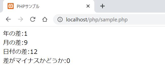PHPでdate_diff関数を使って、2つの日付が何年、何月、何日分の差があるのかを調べるサンプルプログラムの実行結果。