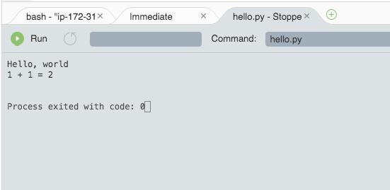 Amazon AWSのCloud9で環境構築を行い、Pythonのコードを実行した結果の画面。